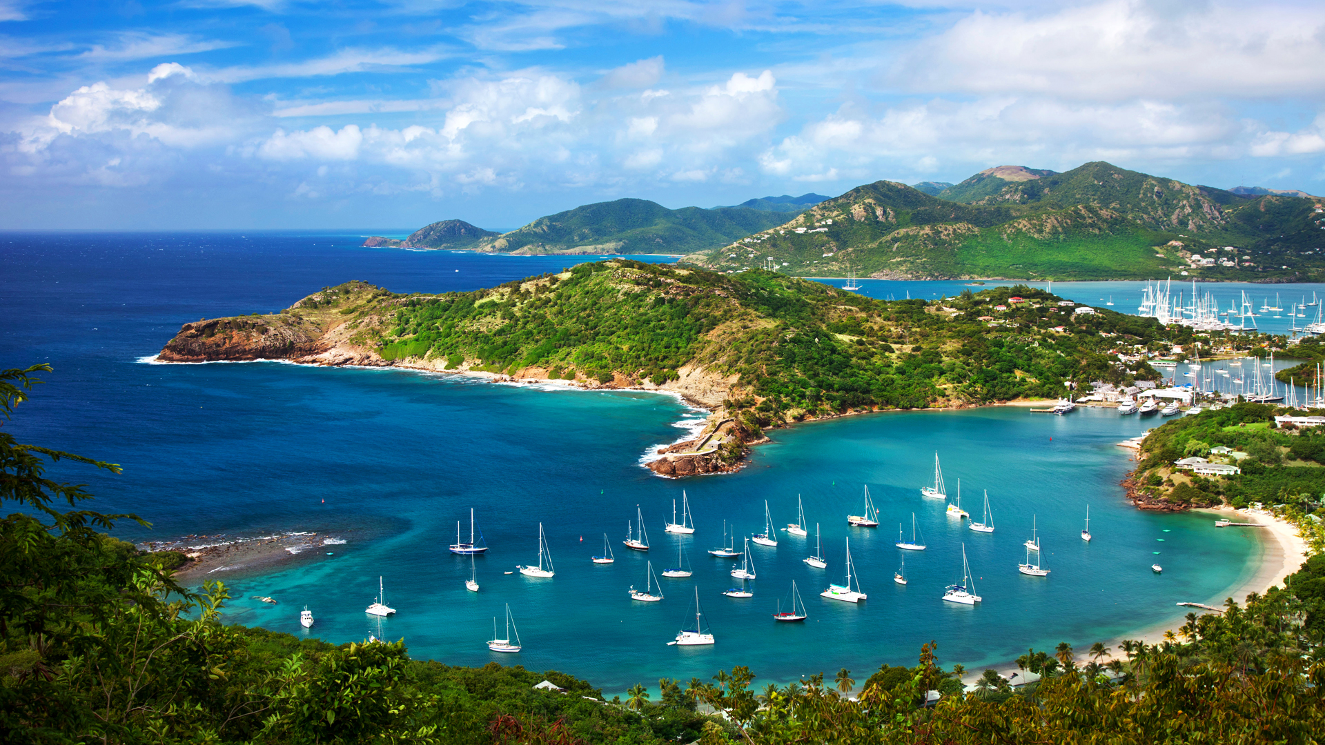 Lookout view from Shirley Heights over Admiral Nelson's Dockyards, Antigua, Leeward Islands, West Indies. Image shot 2012. Exact date unknown.